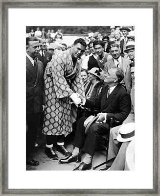 Governor Franklin D. Roosevelt Shaking Framed Print by Everett