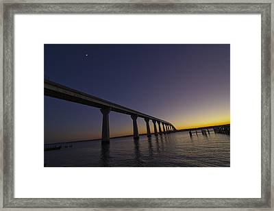 Framed Print featuring the photograph Governor Thomas Johnson Bridge by Kelly Reber