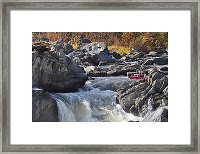 Grace Under Pressure On The Potomac River At Great Falls Park Framed Print