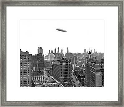 Graf Zeppelin Over Chicago Framed Print