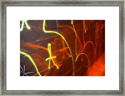 Graffiti On A Garage Door In San Framed Print by Raymond Gehman