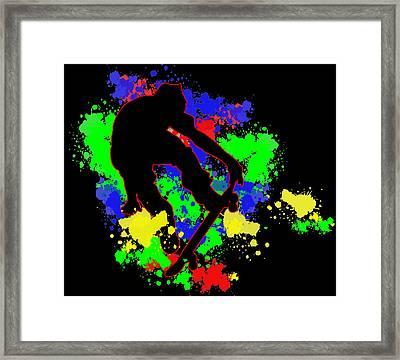 Graffiti Paint Splotches Skateboarder Framed Print by Elaine Plesser
