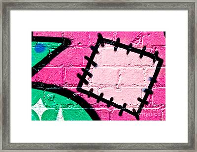 Graffiti Patch Closeup Framed Print
