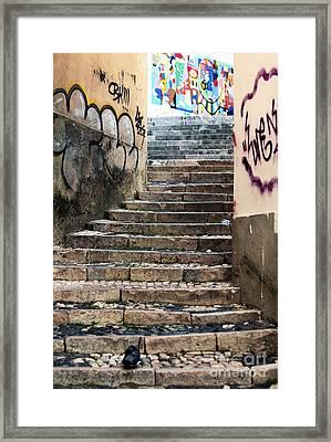 Graffiti Stairs Framed Print by John Rizzuto