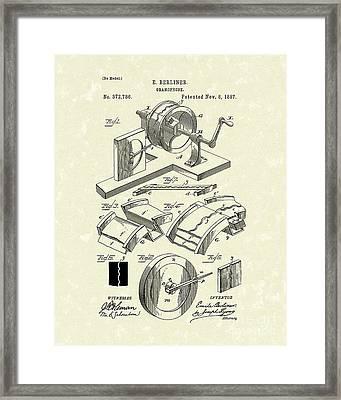 Gramophone 1887 Patent Art Framed Print by Prior Art Design