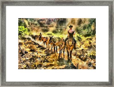 Grand Canyon Mules At The River Framed Print