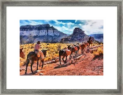 Grand Canyon Mules Heading Up The South Kaibab Trail Framed Print by Mary Warner