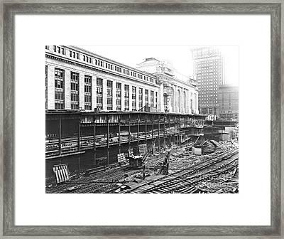 Grand Central Station Construction 1910 Framed Print