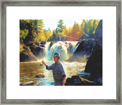 Grand Falls In Maine Framed Print by Richard Stevens
