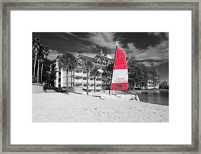 Grand Floridian Resort Beach Walt Disney World Prints Color Splash Black And White Framed Print by Shawn O'Brien