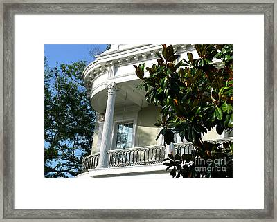 Framed Print featuring the photograph Grand House With Magnolia Tree by Jeanne  Woods