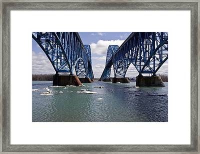 Framed Print featuring the photograph Grand Island Bridges by Darleen Stry
