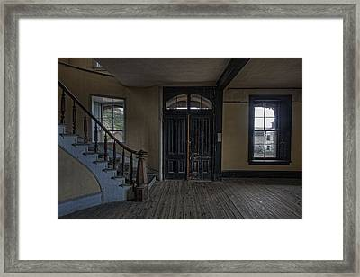 Grand Staircase And Entrance To Meade Hotel - Bannack Ghost Town Framed Print by Daniel Hagerman