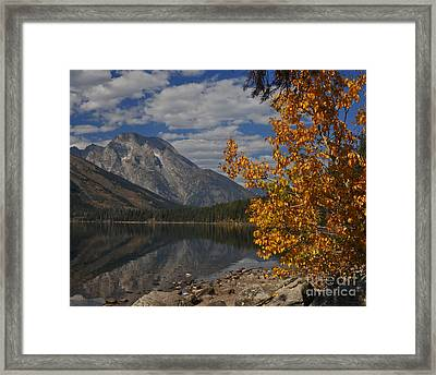 Grand Teton National Park Fall Cloud Mountain Reflections Framed Print
