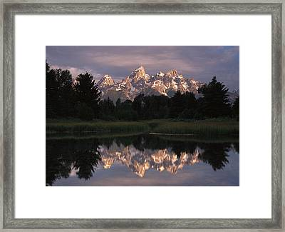Grand Teton Range And Cloudy Sky Framed Print by Tim Fitzharris