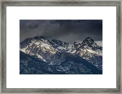 Grand Tetons Immersed In Clouds Framed Print by Greg Nyquist