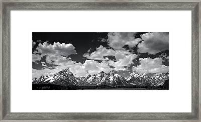 Grand Tetons Panorama In Monochrome Framed Print