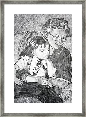 Grandma Reading Framed Print