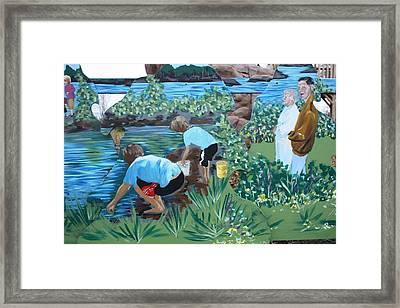 Framed Print featuring the painting Grandparents Detail Of Summer by Jan Swaren