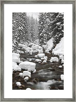 Granite Creek In Winter, Briger-teton Framed Print