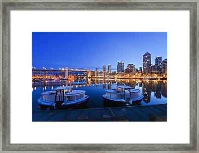 Granville Island At Dawn. The Vancouver Framed Print