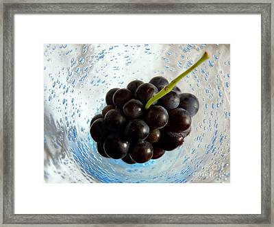 Framed Print featuring the photograph Grape Cluster In Biot Glass by Lainie Wrightson