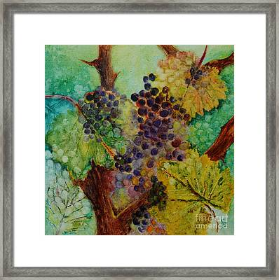 Grapes And Leaves V Framed Print by Karen Fleschler