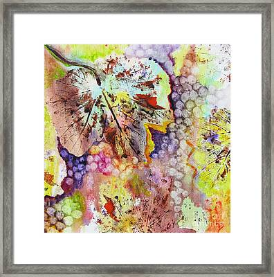 Grapes And Leaves Vi Framed Print by Karen Fleschler