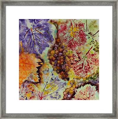 Grapes And Leaves Viii Framed Print by Karen Fleschler