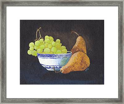 Grapes And Pears Framed Print by Nicole Grattan
