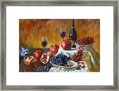 Grapes And Pomgranates Framed Print by Ylli Haruni