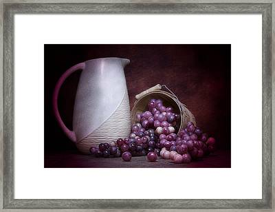 Grapes With Pitcher Still Life Framed Print