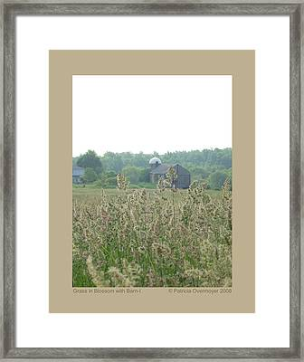 Framed Print featuring the photograph Grass In Blossom With Barn-i by Patricia Overmoyer