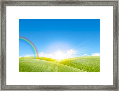 Grassland In The Sunny Day With Rainbow Framed Print by Setsiri Silapasuwanchai