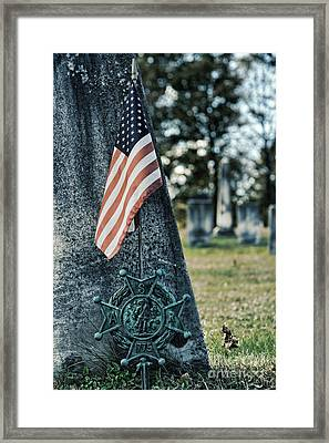 gravestone with the Sons of the Revolution grave ma Framed Print