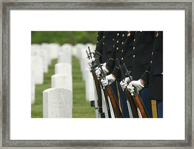 Gravestones And Honor Guard Framed Print