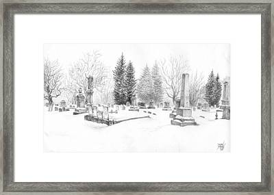 Graveyard In The Snow Framed Print