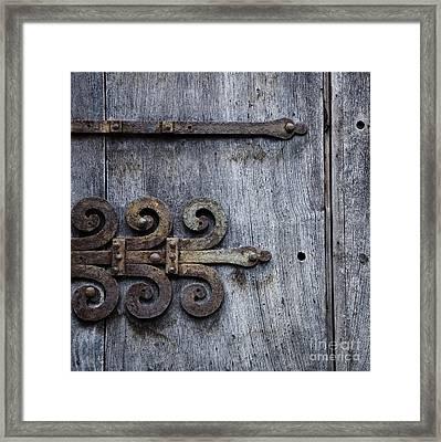 Gray Wooden Doors With Ornamental Hinge Framed Print