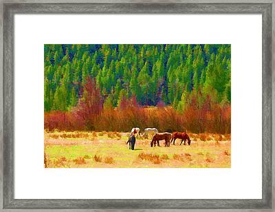 Framed Print featuring the digital art Grazing by Brian Davis