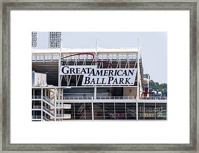 Great American Ball Park Sign In Cincinnati Framed Print
