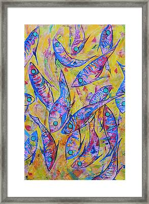 Framed Print featuring the painting Great Barrier Reef Fish by Lyn Olsen
