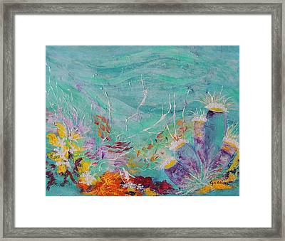 Framed Print featuring the painting Great Barrier Reef Life by Lyn Olsen