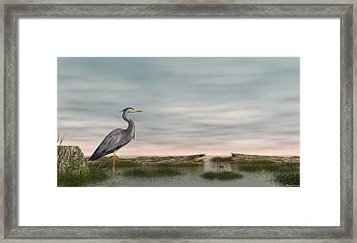 Framed Print featuring the digital art Great Blue Heron by Walter Colvin
