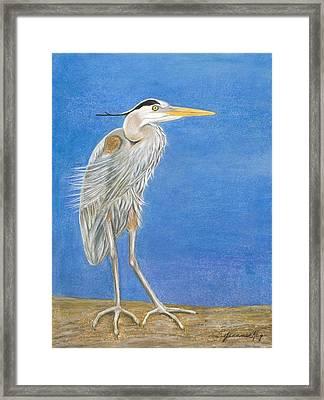 Great Blue Heron Windy Day Framed Print by Jeanne Kay Juhos