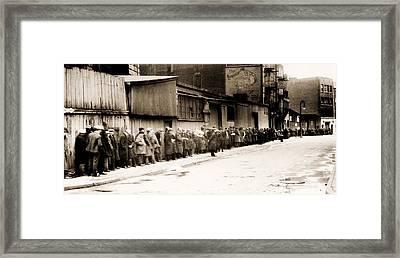 Great Depression Breadline At Mccauley Framed Print