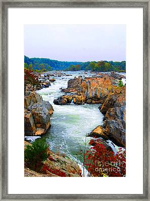 Great Falls On The Potomac River In Virginia Framed Print by Eva Kaufman