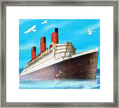 Great Ocean Liner Framed Print by Belinda Threeths