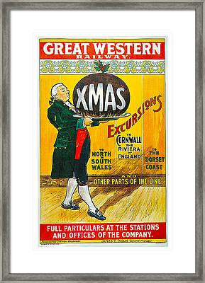 Great Western Railway Xmas Excursions Framed Print by George Conning