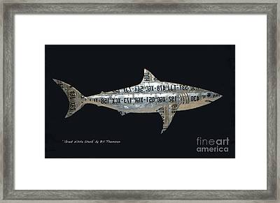 Framed Print featuring the mixed media Great White Shark by Bill Thomson