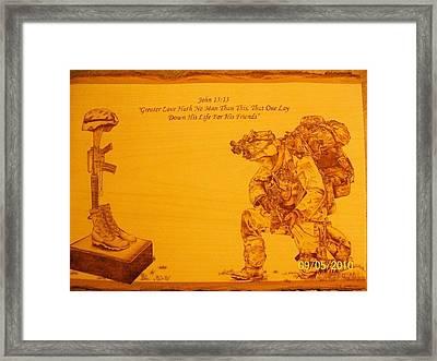 Greater Love Framed Print by Rodney Balderas